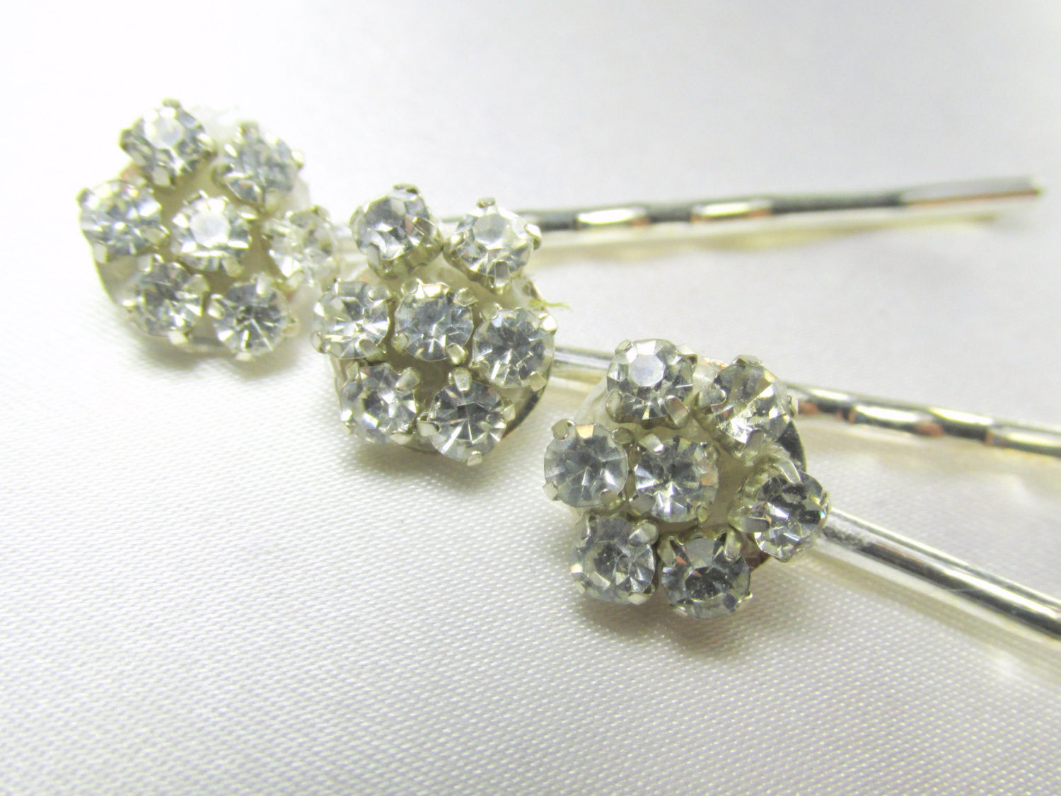Crystal Clear Rhinestone Flower Bobby Pins Odyssey Creations