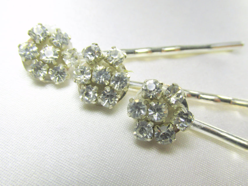 Crystal Clear Rhinestone Flower Bobby Pins - Odyssey Creations