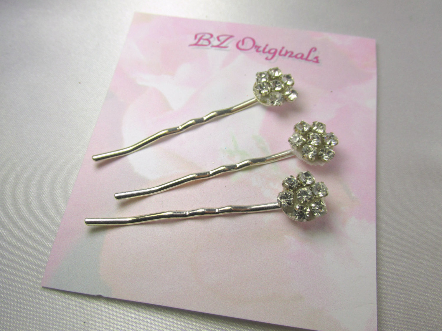 Crystal Rhinestone Flower Bobby Pins for Bridal, Bridesmaid or Prom Hair Decoration - Odyssey Creations