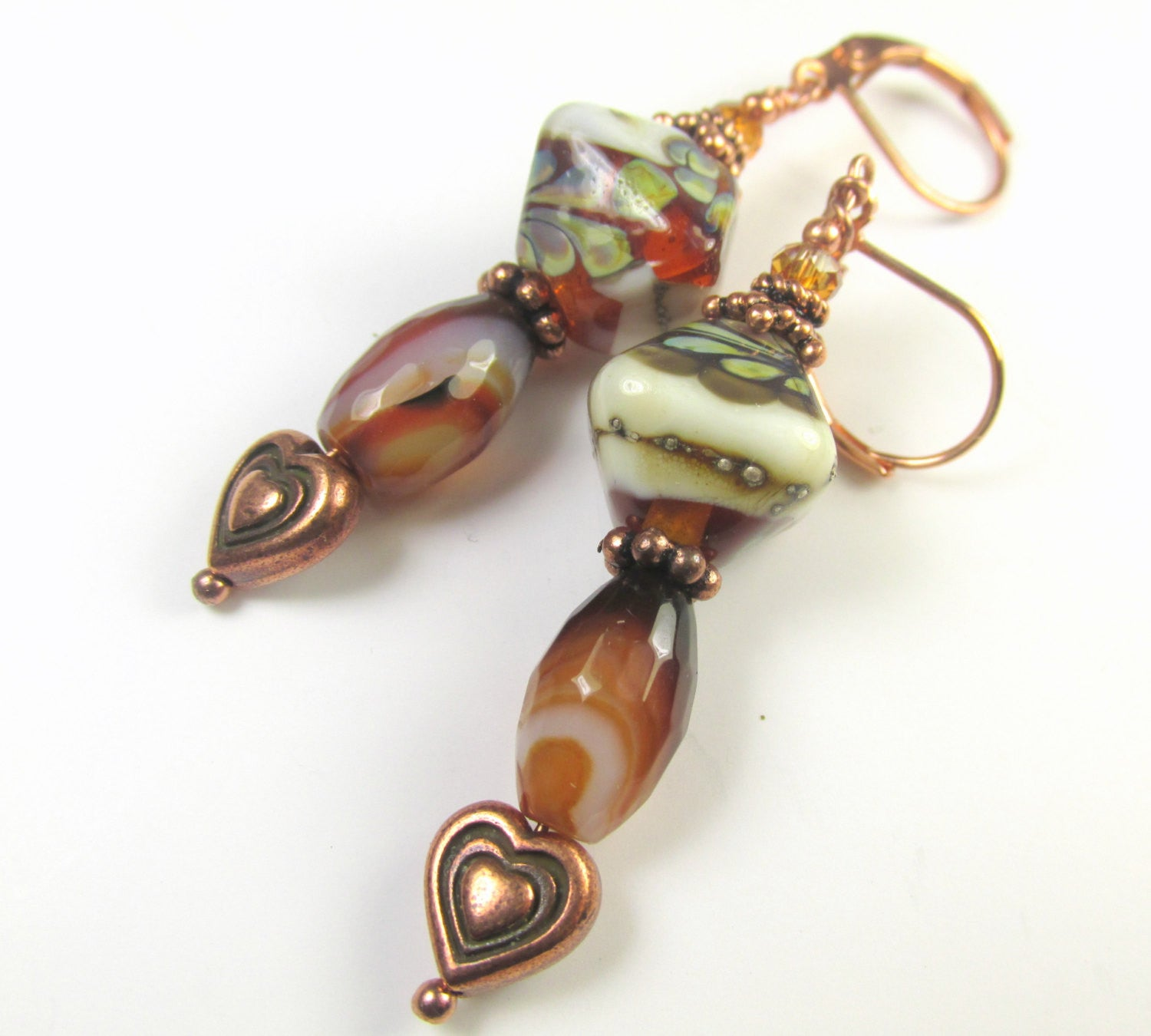 Lampwork Glass and Faceted Dark Red Brown White Agate Copper Heart Earrings - Odyssey Creations
