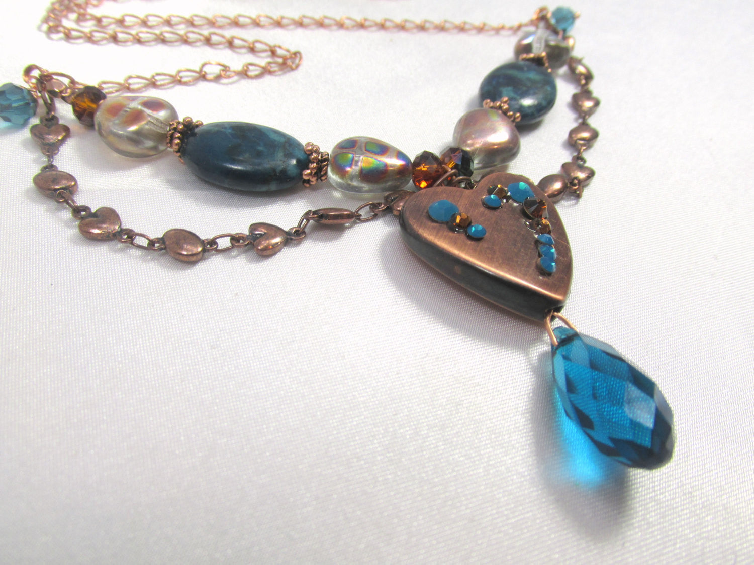 Copper Heart and Blue Teal Turquoise Crystal and Agate Necklace - Odyssey Creations