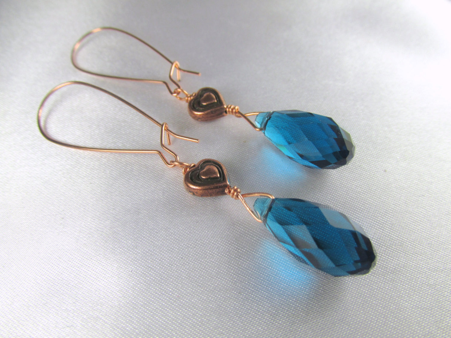 Copper Heart and Blue Teal Crystal Drop Earrings on Kidney Wires - Odyssey Creations