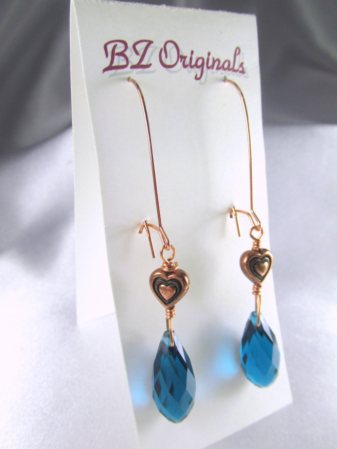 Copper Heart and Blue Teal Crystal Drop Earrings on oversized copper kidney wires -matching set available - Odyssey Creations