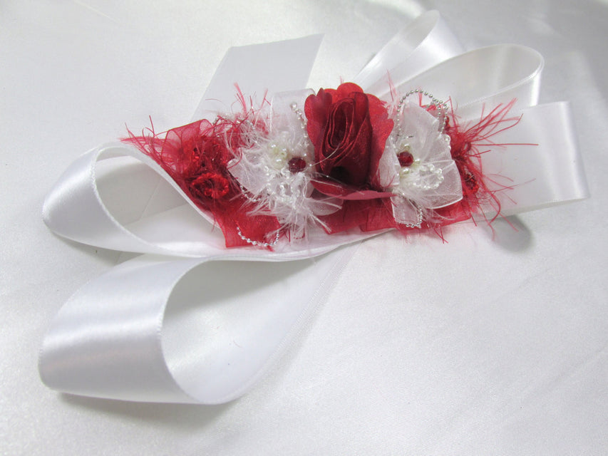 Marsala Red and White Bridal Sash with White Pearls and Silver accents - Odyssey Creations