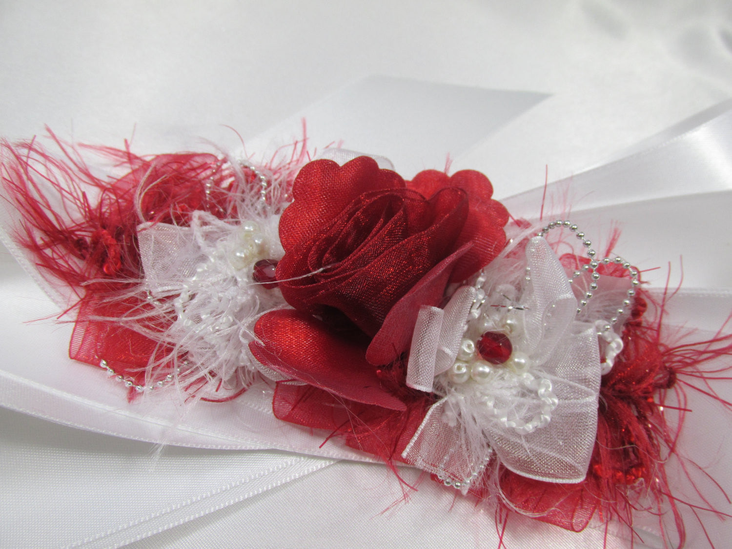 Red and White Bridal Sash with White Pearls and Silver accents on Satin Ribbon - Odyssey Creations