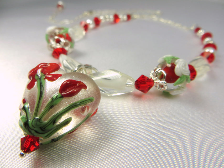 Red and White Lampwork Heart Necklace with Swarovski, fine Sterling Silver, Vintage White Givre beads, and Swarovski - Odyssey Creations