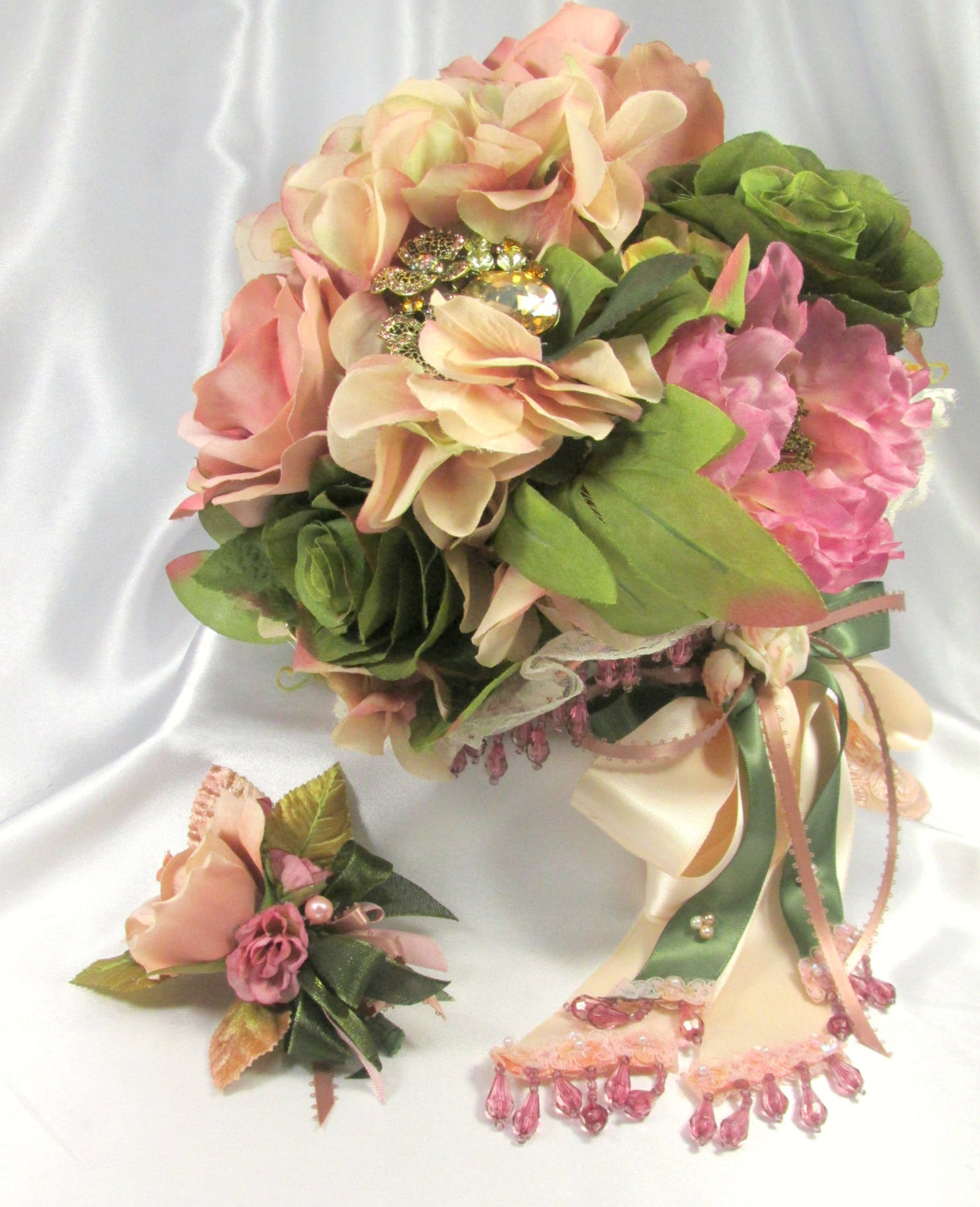 Cottage Rose Beaded Cascading Bridal Brooch Bouquet in Mauve, Pink Blush, Peach and Olive Green - Odyssey Creations