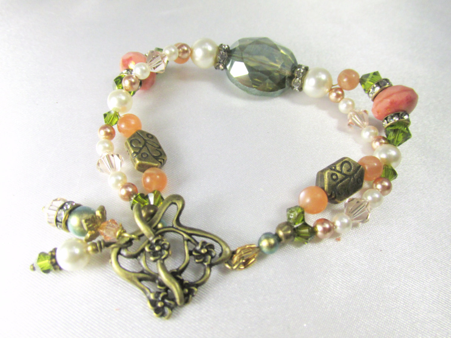 Antique Brass Bracelet in Olive Green and Coral with Moonstone Gemstones - Odyssey Creations
