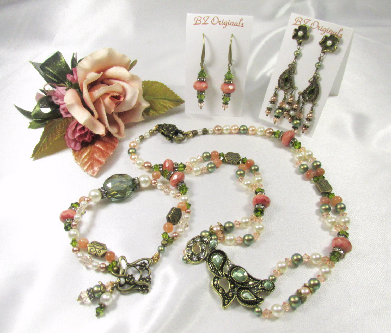 Antique Brass Vintage Style Necklace with Olive Green Crystals, Moonstone, Coral & Peach Swarovski - Odyssey Creations
