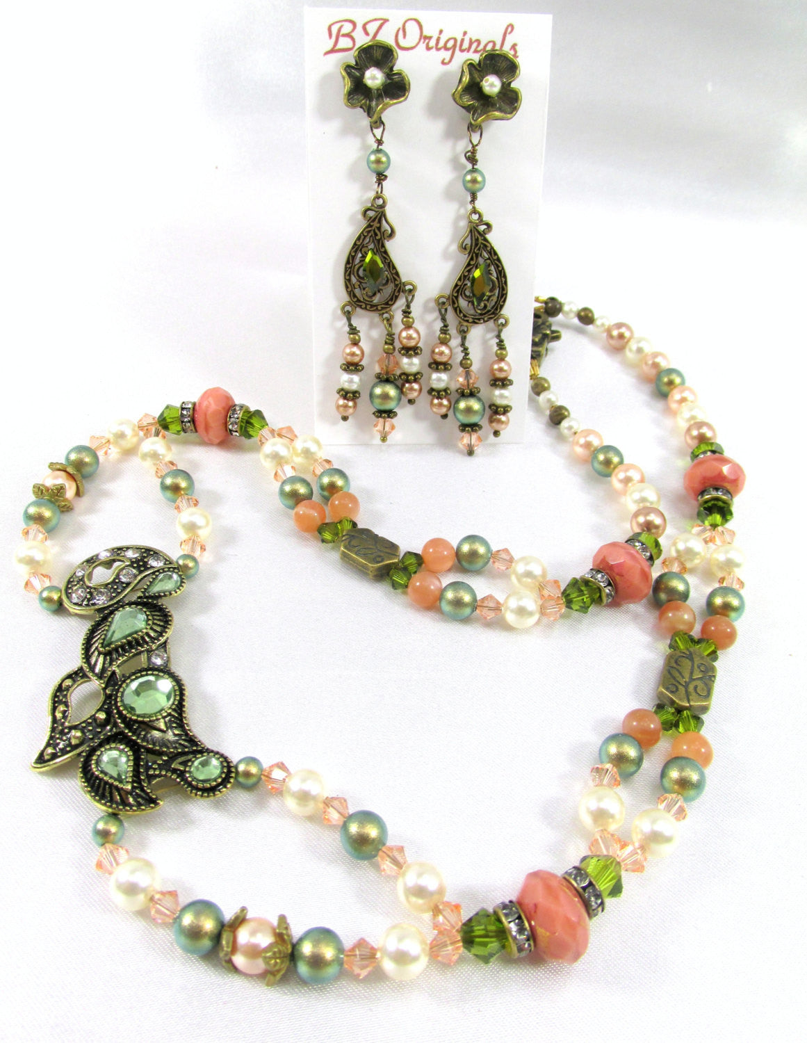 Vintage Style Antique Brass Necklace with Olive Green Crystals, Moonstone, Coral & Peach Swarovski Crystals - Odyssey Creations