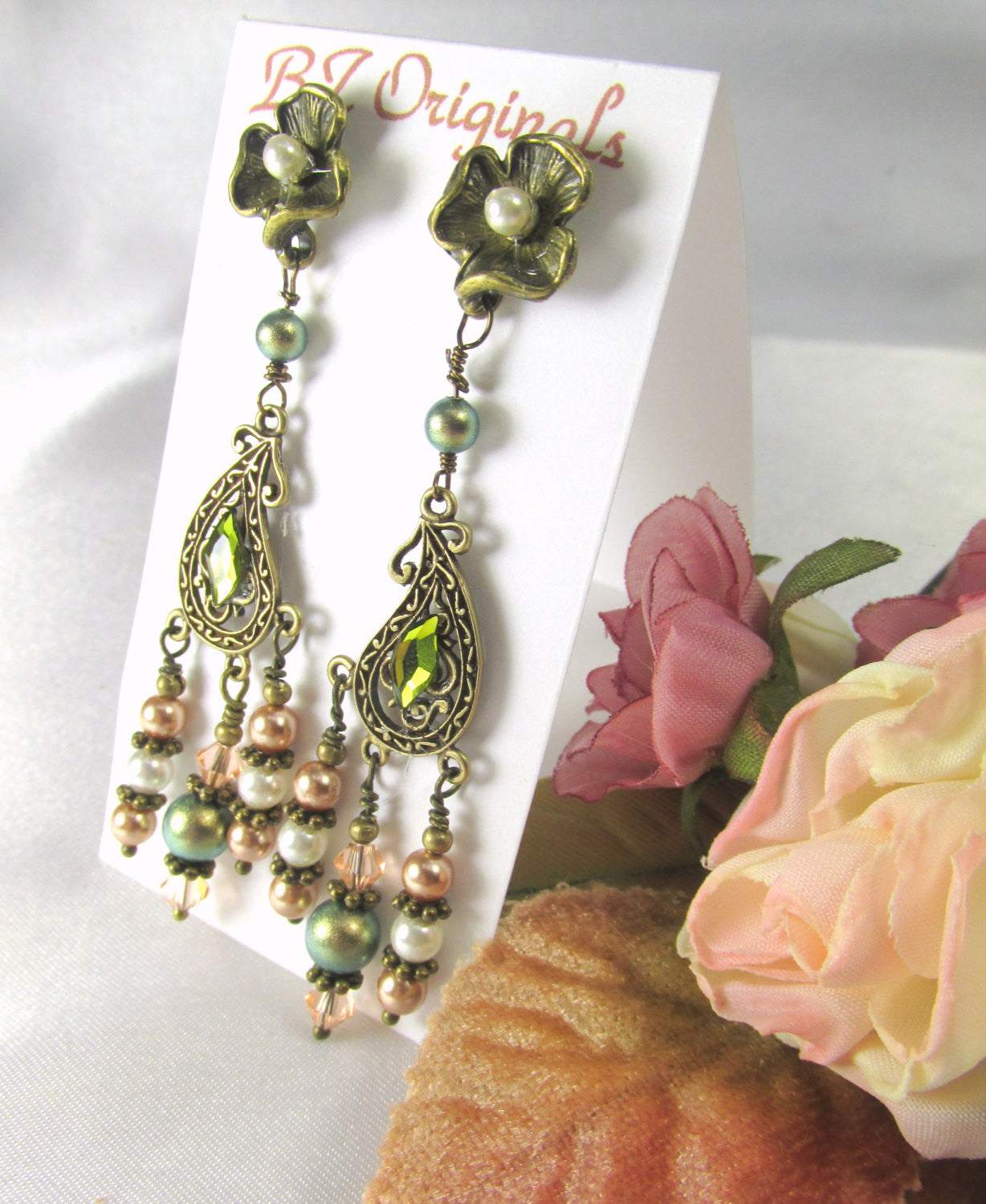 Antique Brass Post Chandelier Earrings in Olive Green, Ivory, Pearls and Light Peach Swarovski - Odyssey Creations