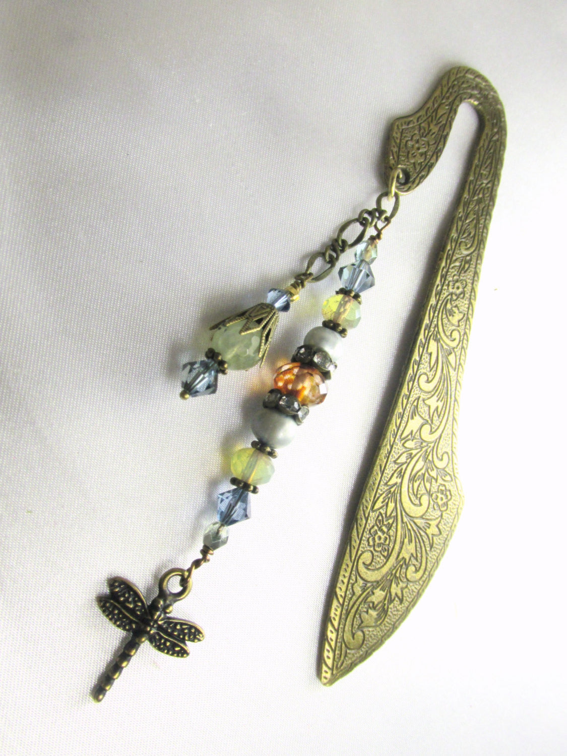 Dragonfly Blue, Green, Brown Brass Beaded Bookmark with Prehinite Gemstones, Freshwater Pearsl and Swarovski Crystals - Odyssey Creations