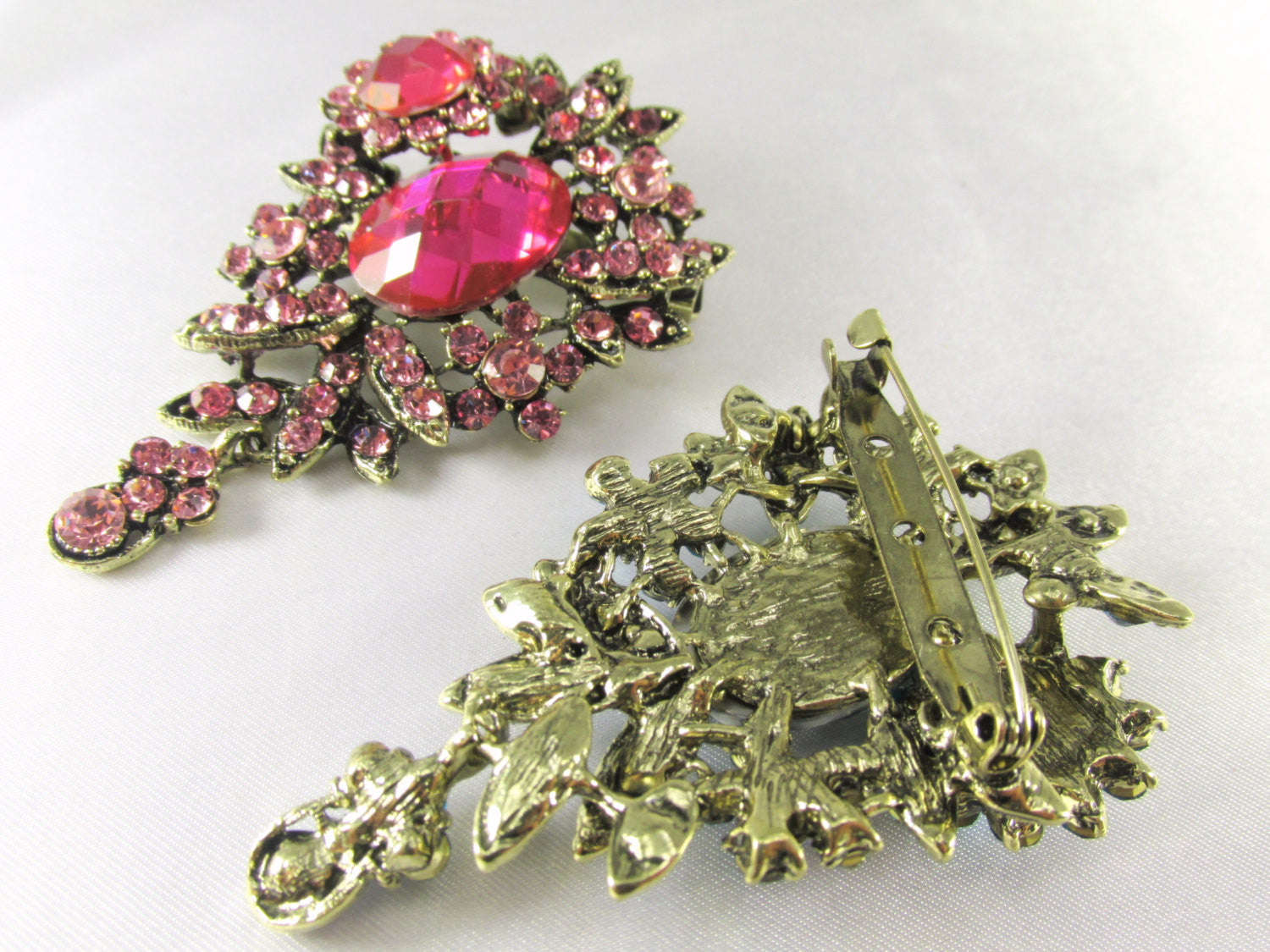 Pink Teardrop 2.75 Inch Brooch in Antique Brass - Odyssey Creations