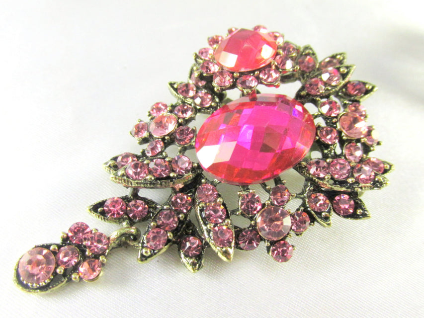Pink Teardrop 2.75 Inch Brooch in Antique Brass - Odyssey Cache - 1