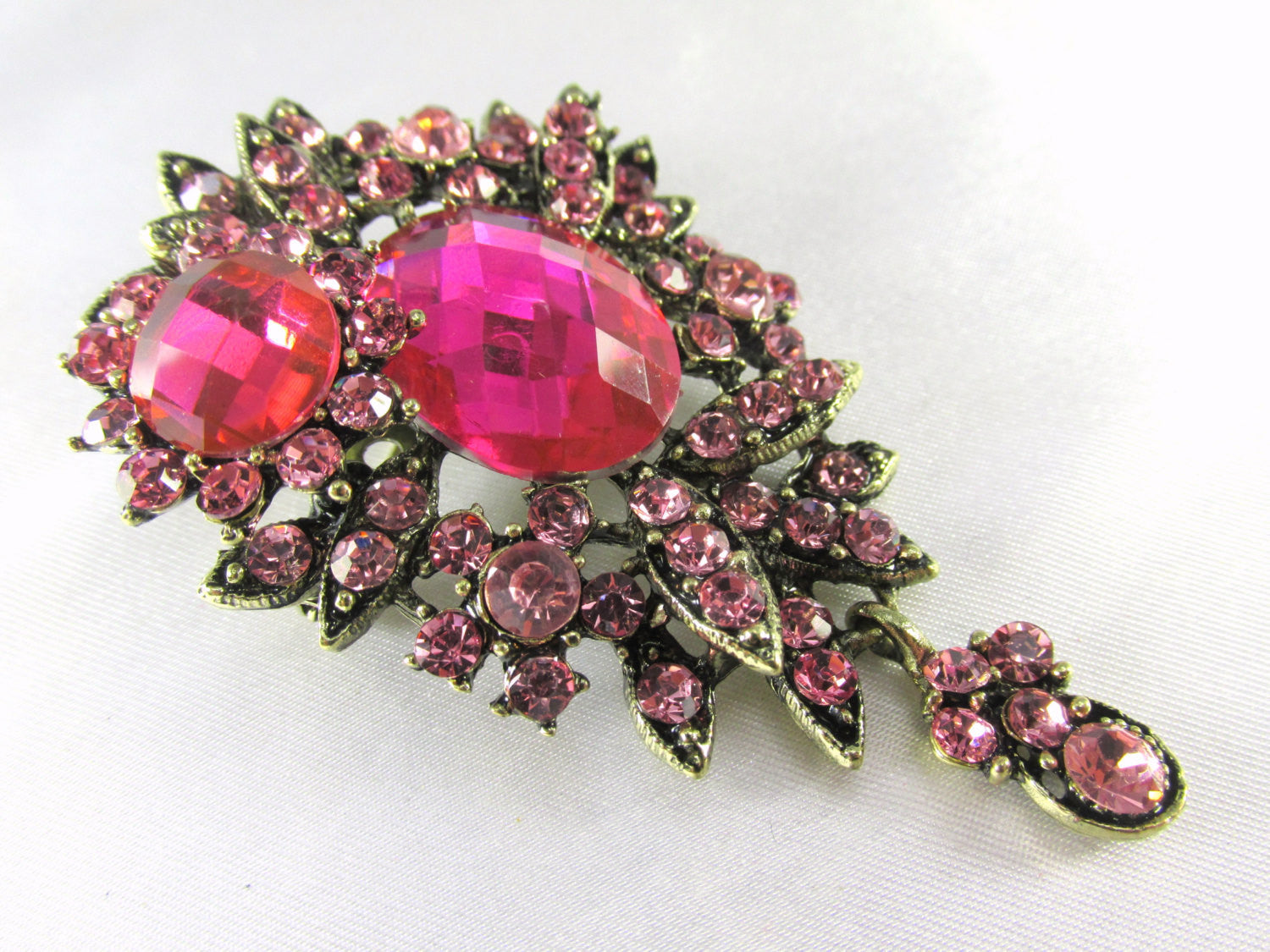 Pink Teardrop 2.75 Inch Brooch in Antique Brass - Odyssey Cache - 2