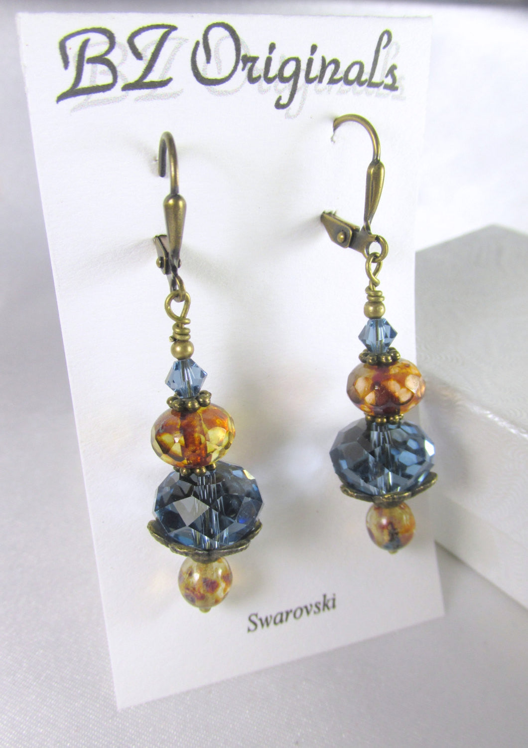 Natural Brass Blue Denim and Brown Swarovski Crystal and Czech Glass Earrings - Odyssey Creations