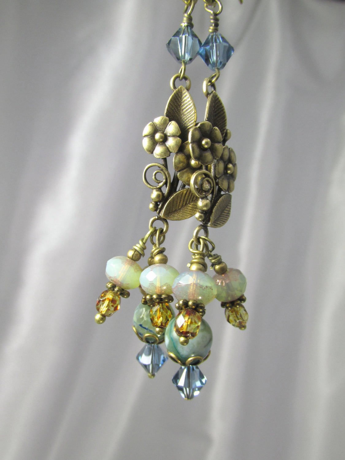 Natural Brass Blue Denim, Brown and Aqua Faceted Agate, Swarovski Crystal and Czech Glass Long Earrings - Odyssey Creations