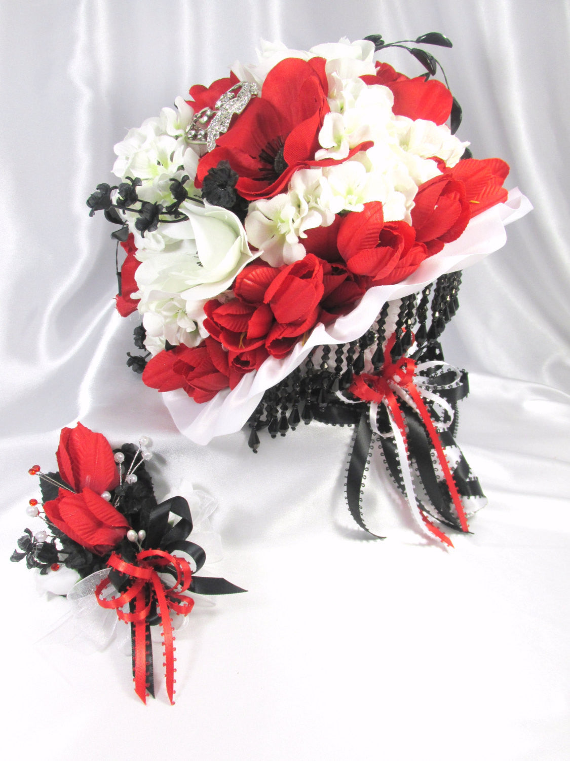 Red, White and Black Poppies Victorian Styled Traditional Beaded Bridal Brooch Bouquet - Odyssey Creations