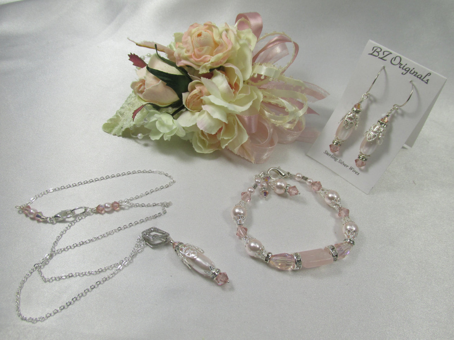 Vintage Pink Blush Pearl Necklace and Earring Set on Silver - Odyssey Creations