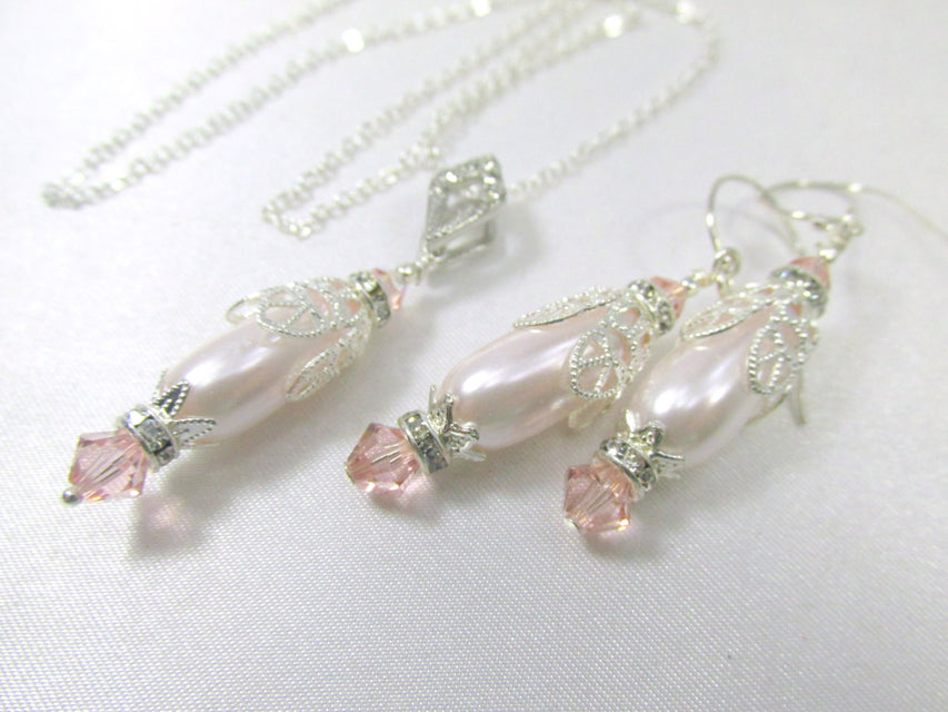 Bride or Bridesmaid Necklace and Earring Set in Vintage Pink Pale Blush Pink Pearl and Silver Teardrop - Odyssey Creations