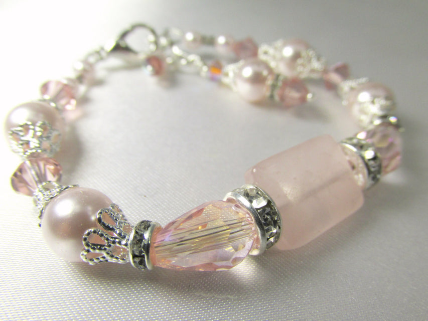 Vintage Pink Pale Blush Pearl, Rose Quartz, Crystal and Silver Adjustable Bracelet - Odyssey Creations