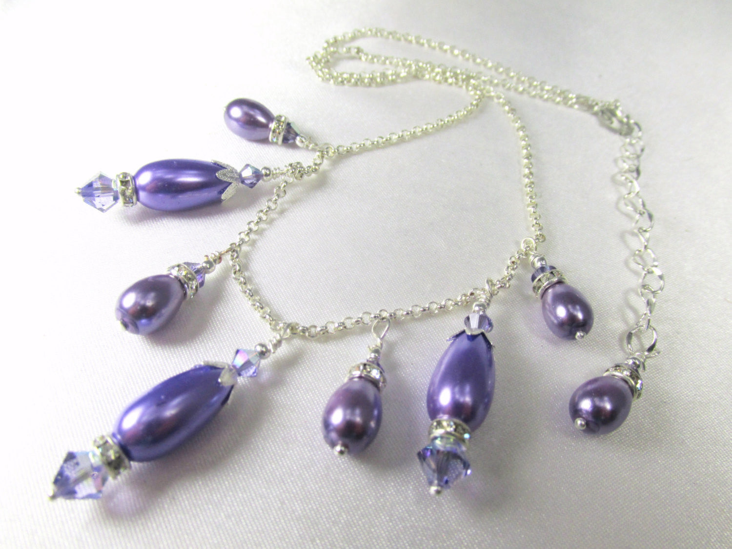 Purple Tanzanite Pearl Necklace with Swarovski Crystals and Pearl Teardrops on Silver Fill Chain - Odyssey Creations