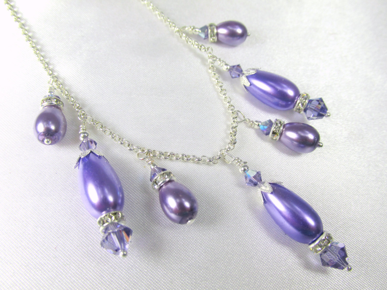 Purple Tanzanite Pearl and Swarovski Necklace and Earring Earrings Bridesmaid Set - Odyssey Creations