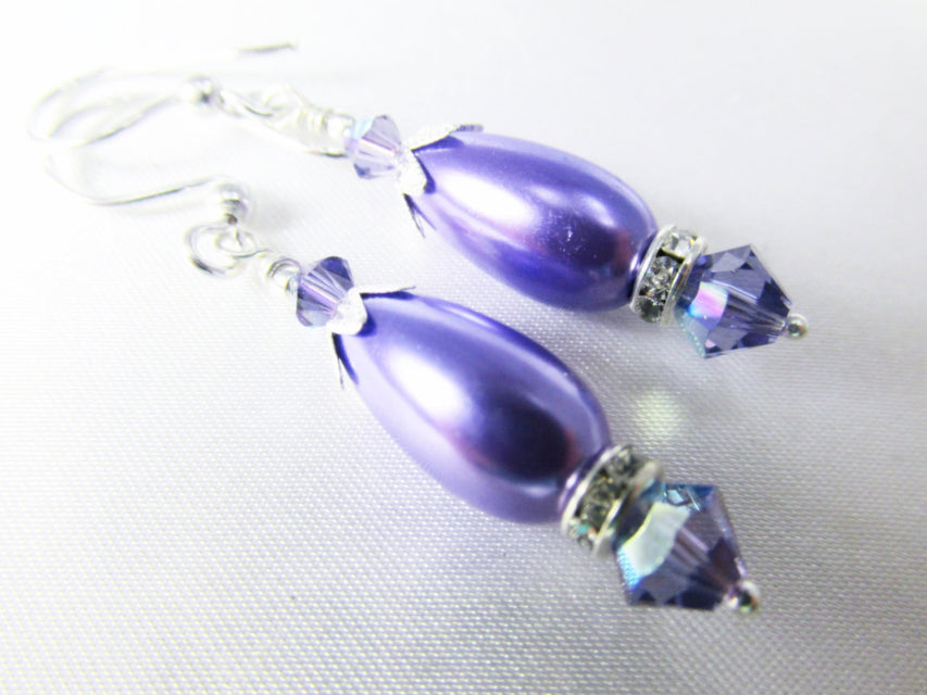 Bridesmaid Earrings in Purple Tanzanite Swarovski and Pearl Teardrops on Sterling Silver Wires - Odyssey Creations