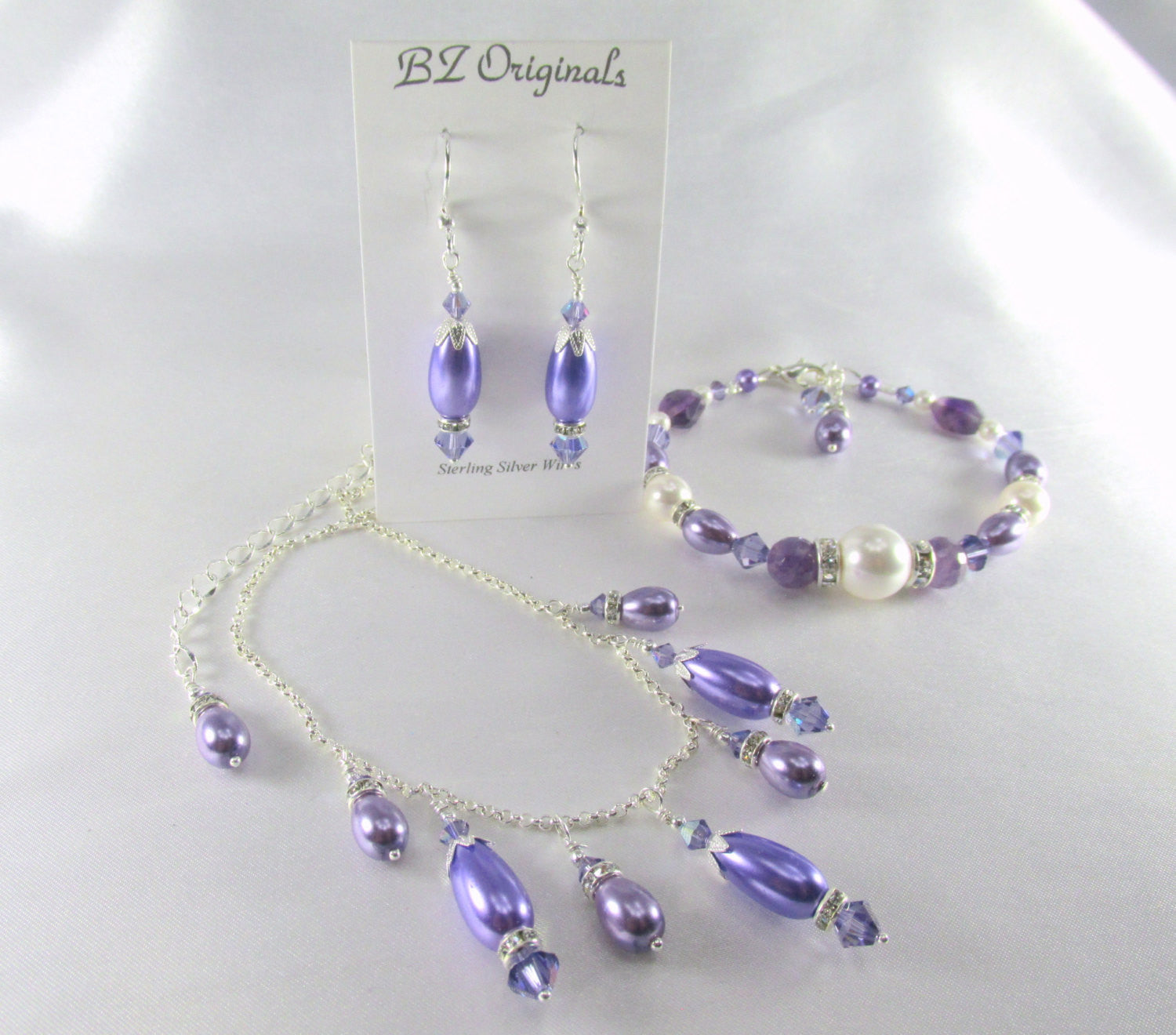Purple Swarovski Crystal Tanzanite and Pearl Teardrop Earrings on Sterling Silver - Odyssey Creations