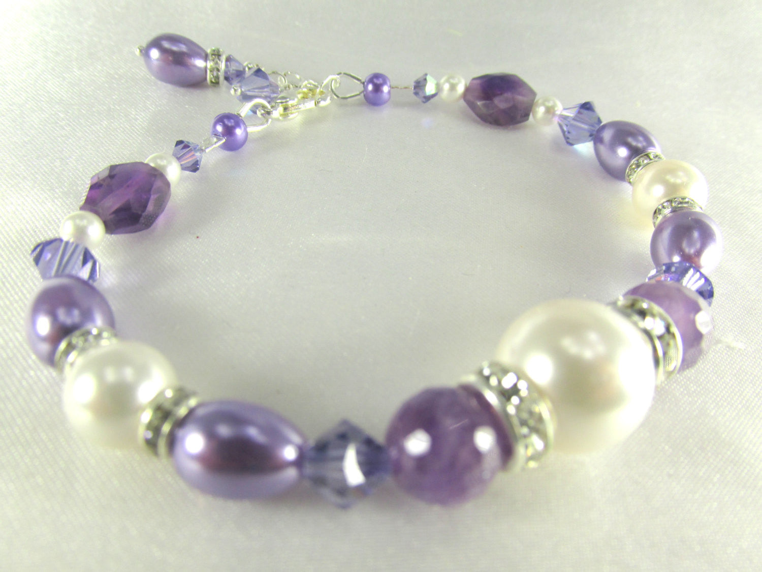 Bridesmaid or Everyday Bracelet in Amethyst Stones, Purple Tanzanite Swarovski, Pearl Teardrops and Rounds on Silver - Odyssey Creations