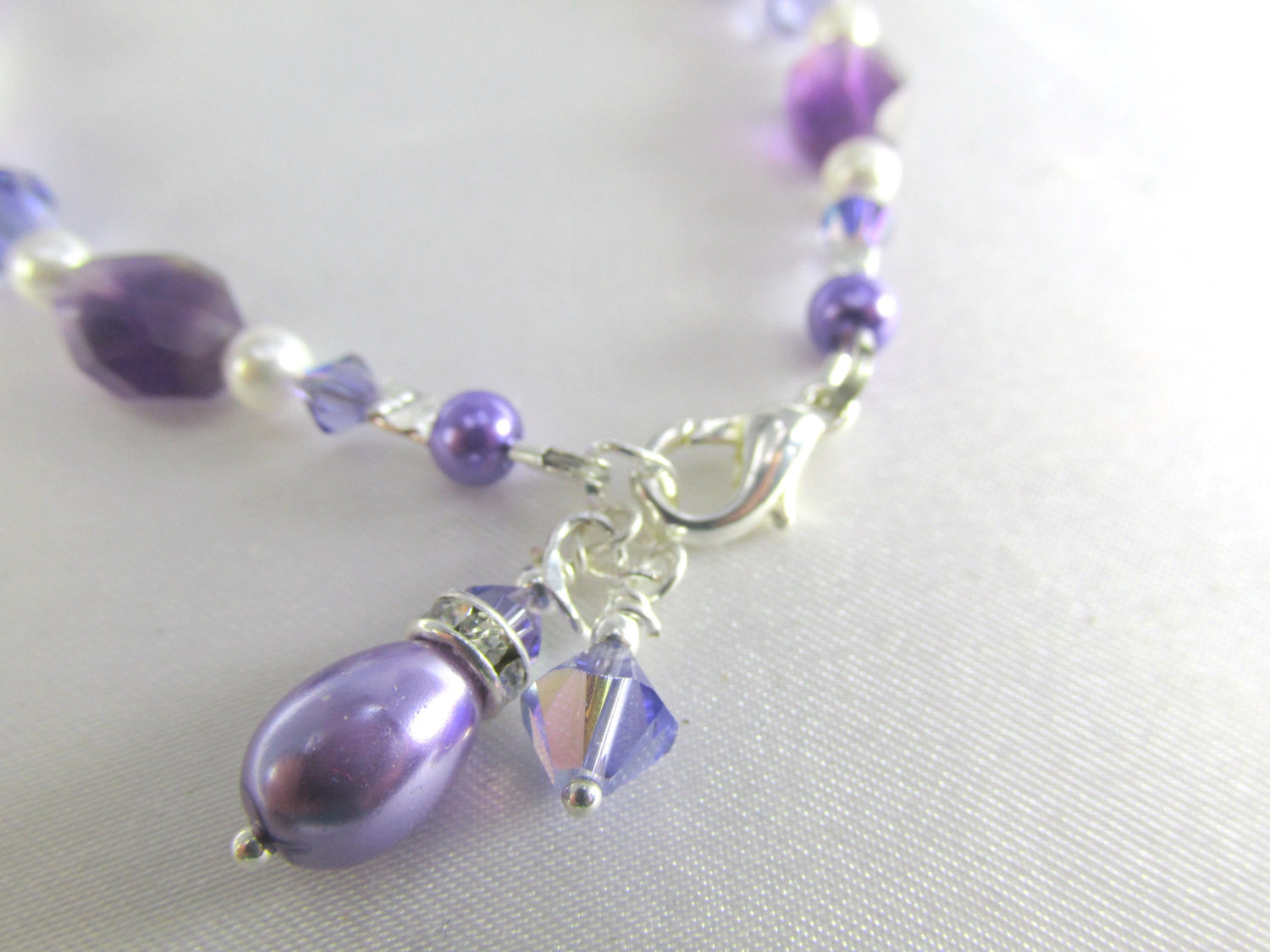 Bracelet in Amethyst, Purple Tanzanite Swarovski, Pearl Teardrops on Silver - Odyssey Creations