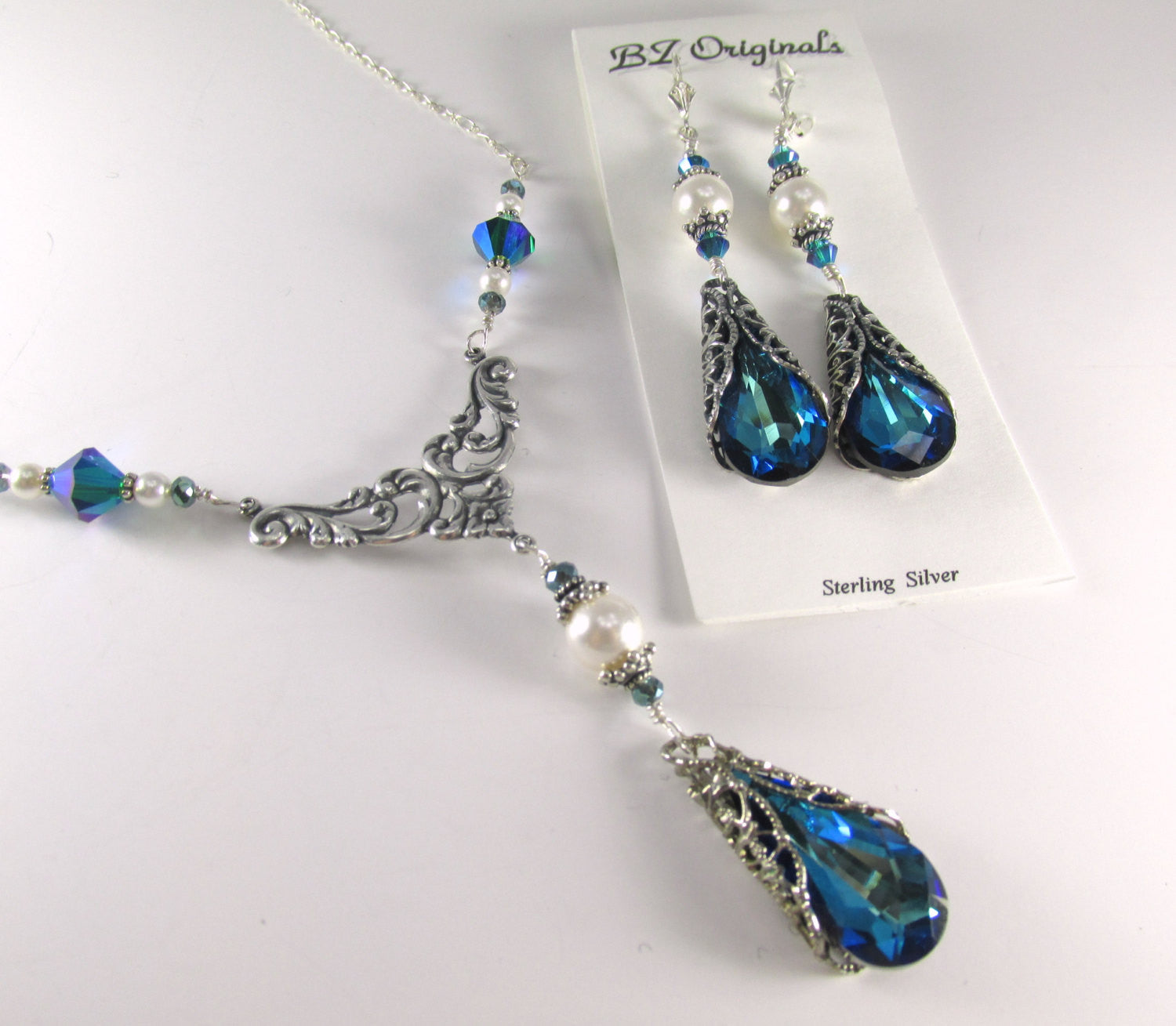 Earrings in Bermuda Blue Silver Filigree Swarovski Teardrops with Swarovski White Pearls and Crystals on Sterling Silver Wires - Odyssey Creations