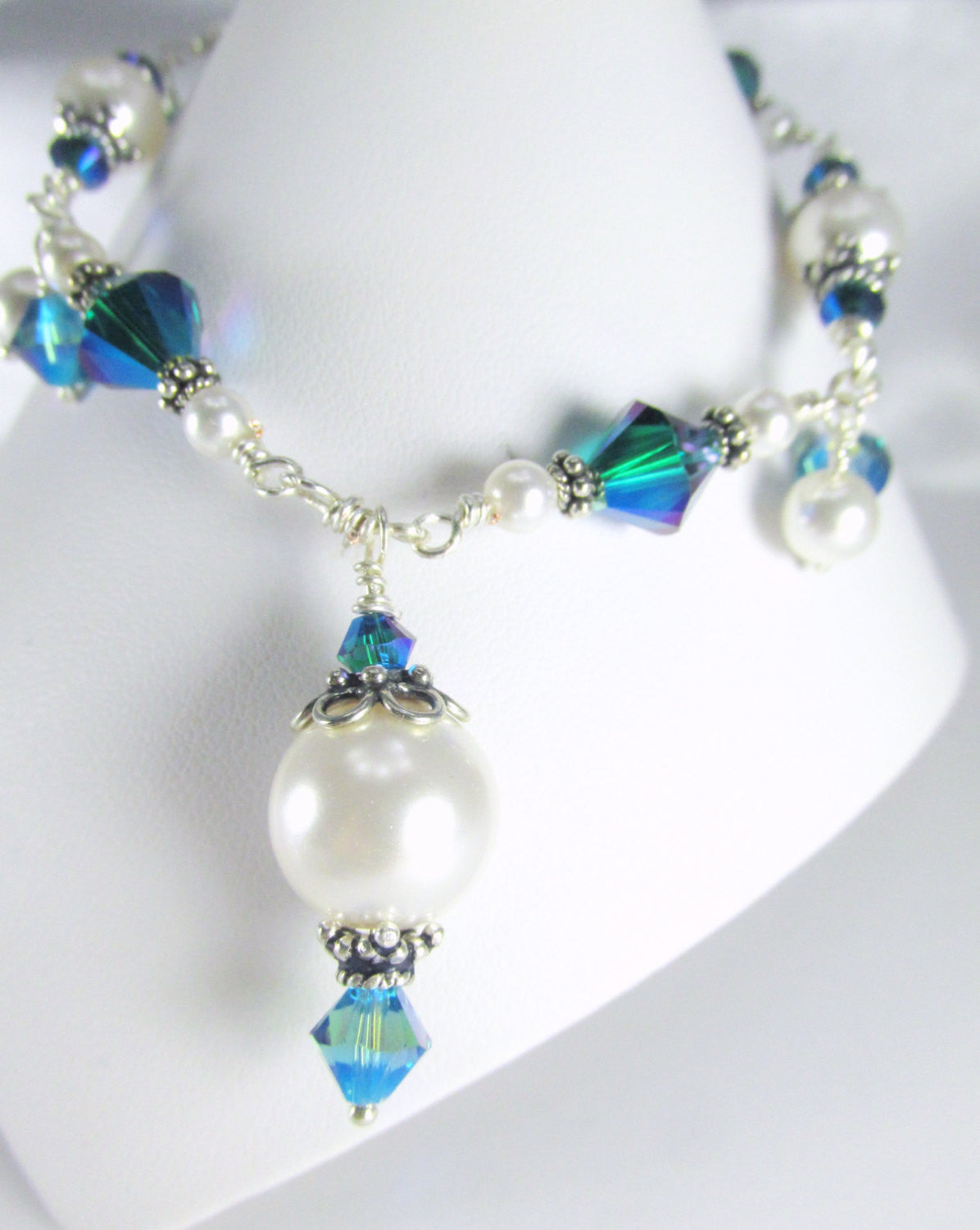 Bermuda Blue Swarovski Crystal Charm Bracelet with White Pearls on Sterling Silver - Odyssey Creations