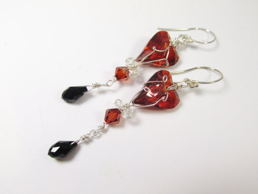 Swarovski Red Magma Wired Wild Heart Earrings in Sterling with Jet Black Teardrops - Marsala Collection - Odyssey Creations