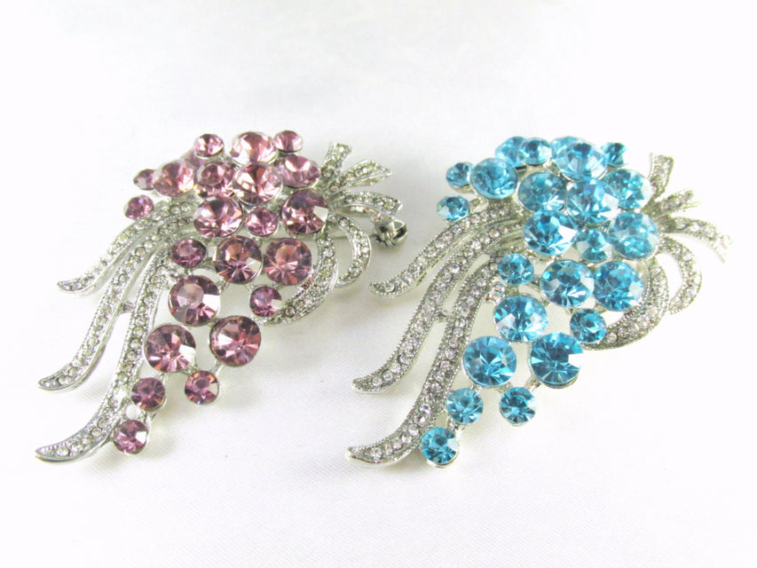 Purple Alexandrite or Aquamarine Turquoise Cascading Crystal Brooch on Silver - Odyssey Creations