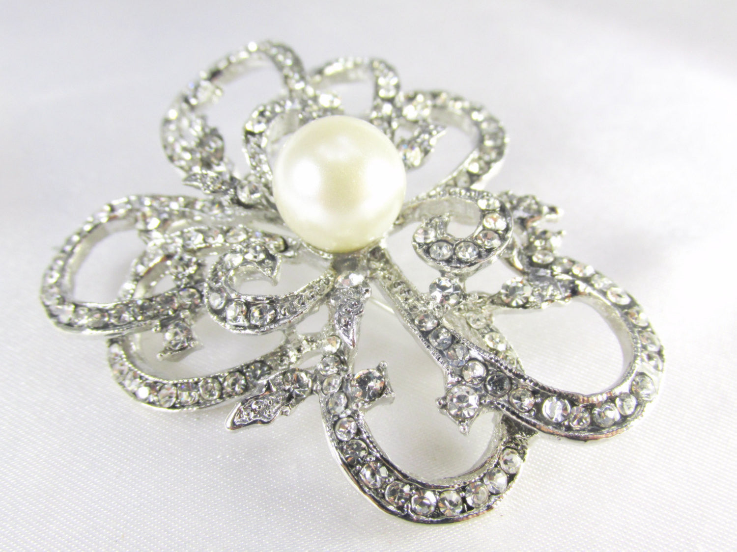 Ivory Off White Pearl Abstract Flower Silver Brooch - Odyssey Cache - 2