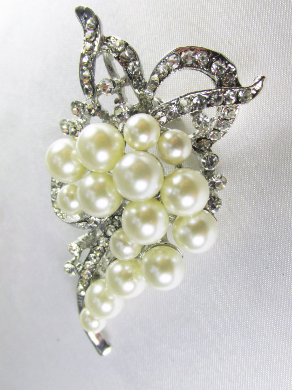 Ivory Off White Pearl Cascading Brooch in Silver - Odyssey Creations