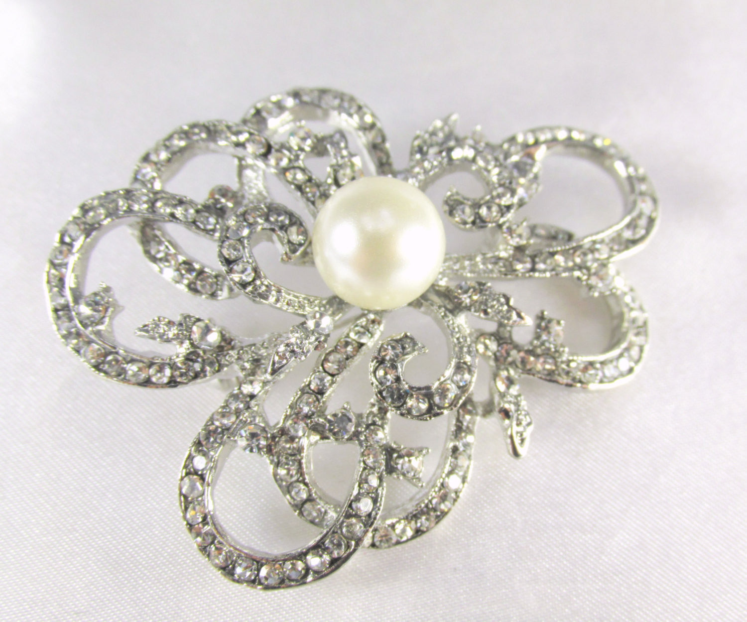 Ivory Off White Pearl Abstract Flower Silver Brooch - Odyssey Cache - 1