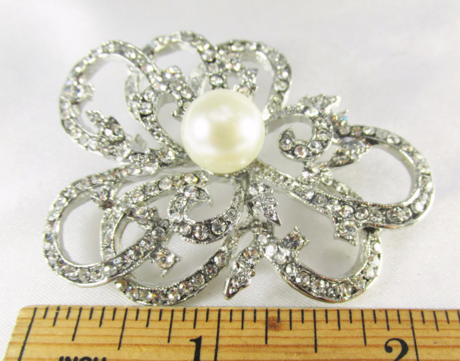 Ivory Off White Pearl Abstract Flower Silver Brooch - Odyssey Creations