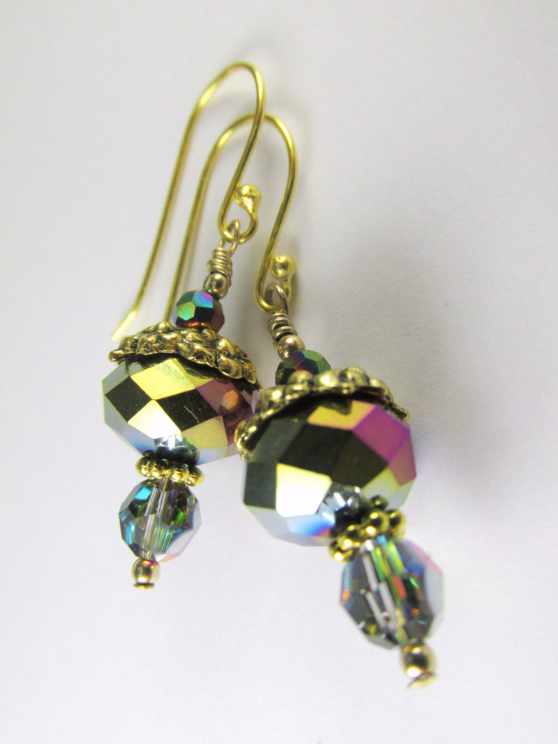 Short Vitrail Medium Earrings with Gold Floral beadcaps on 22k gold Bali earrring wires - Green, Purple, Pink, Blue - Odyssey Creations