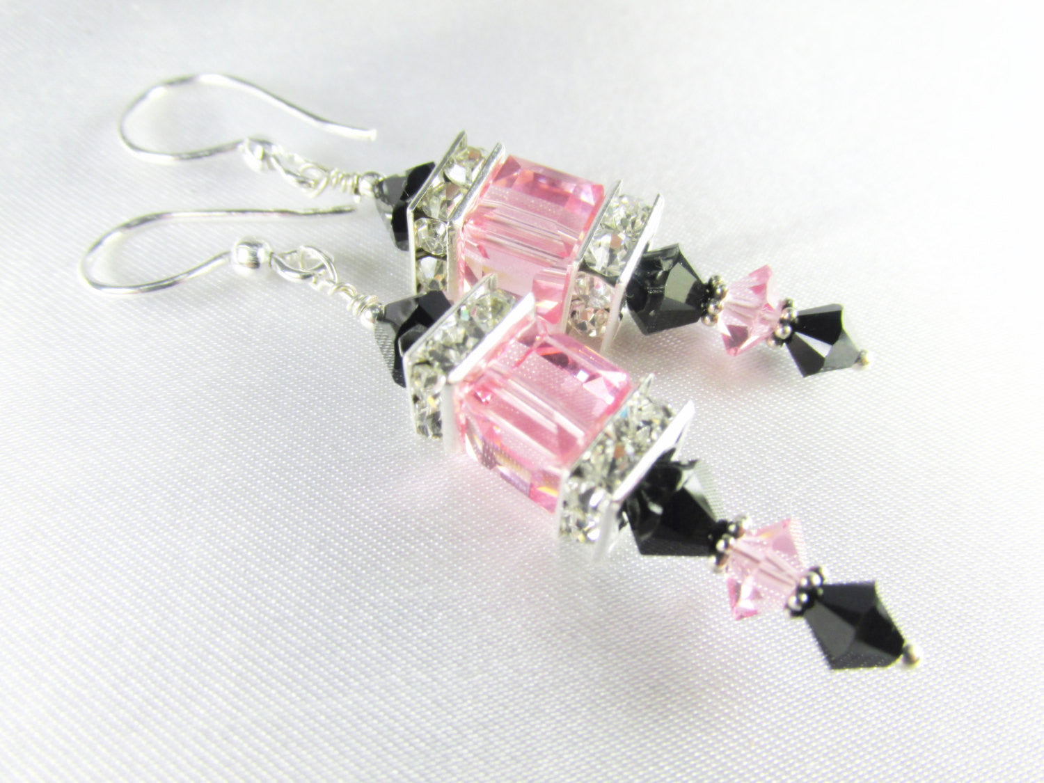 Innocent Pink and Sexy Black Swarovski Cube Earrings on Sterling Silver Posts - Odyssey Creations