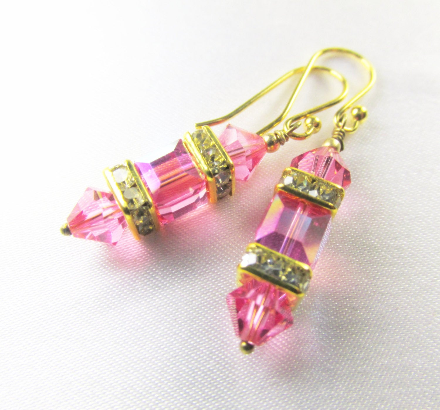 Small Swarovski Pink Rose and Gold 6mm Cube Lantern Earrings on 14k gold fill wires or post - Odyssey Creations