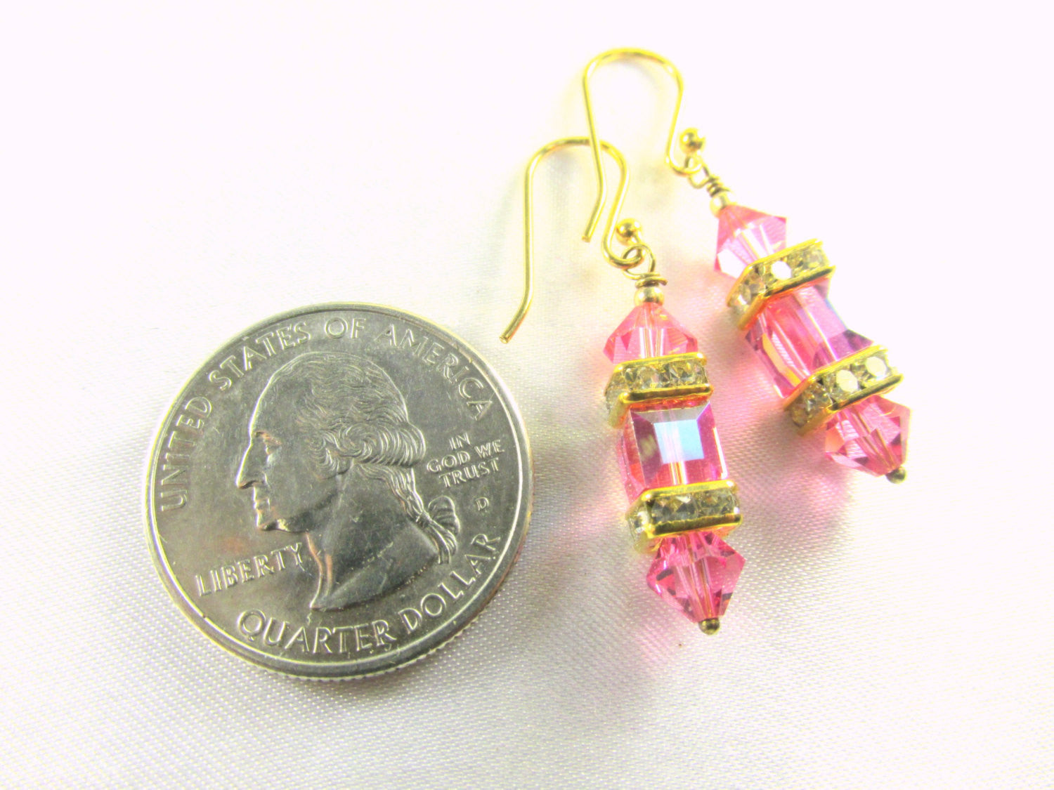 Pink Rose and Gold 6mm Small Swarovski Cube Lantern Earrings on 14k gold fill wires or post - Odyssey Creations