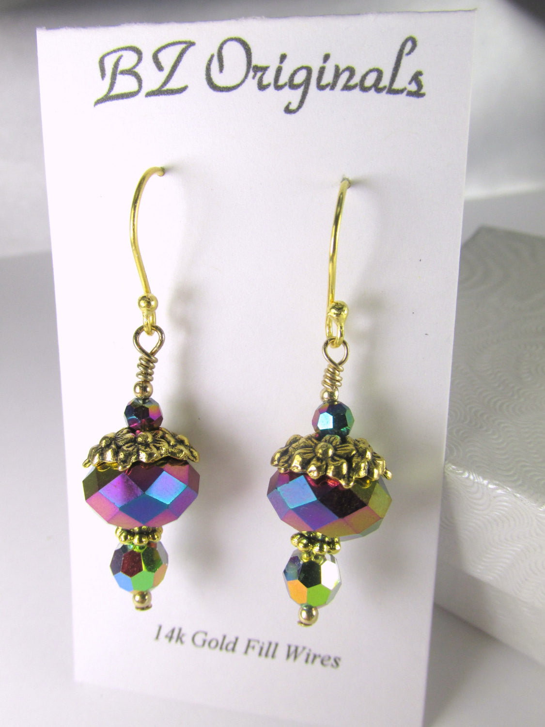 Vitrail Medium Earrings with Gold Floral Bead Caps on 22k gold Bali Wires - Odyssey Creations