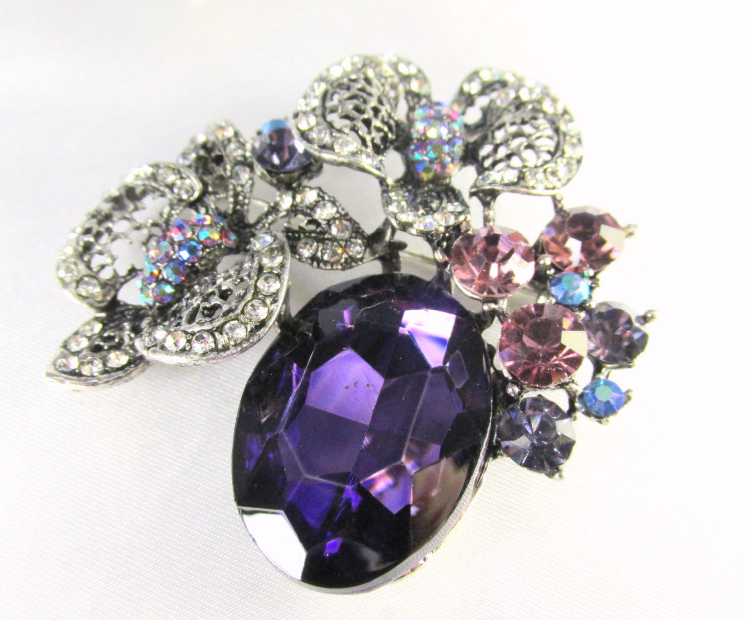 Purple and Antique Silver Cluster Brooch Pin with Quality Crystals - Odyssey Creations