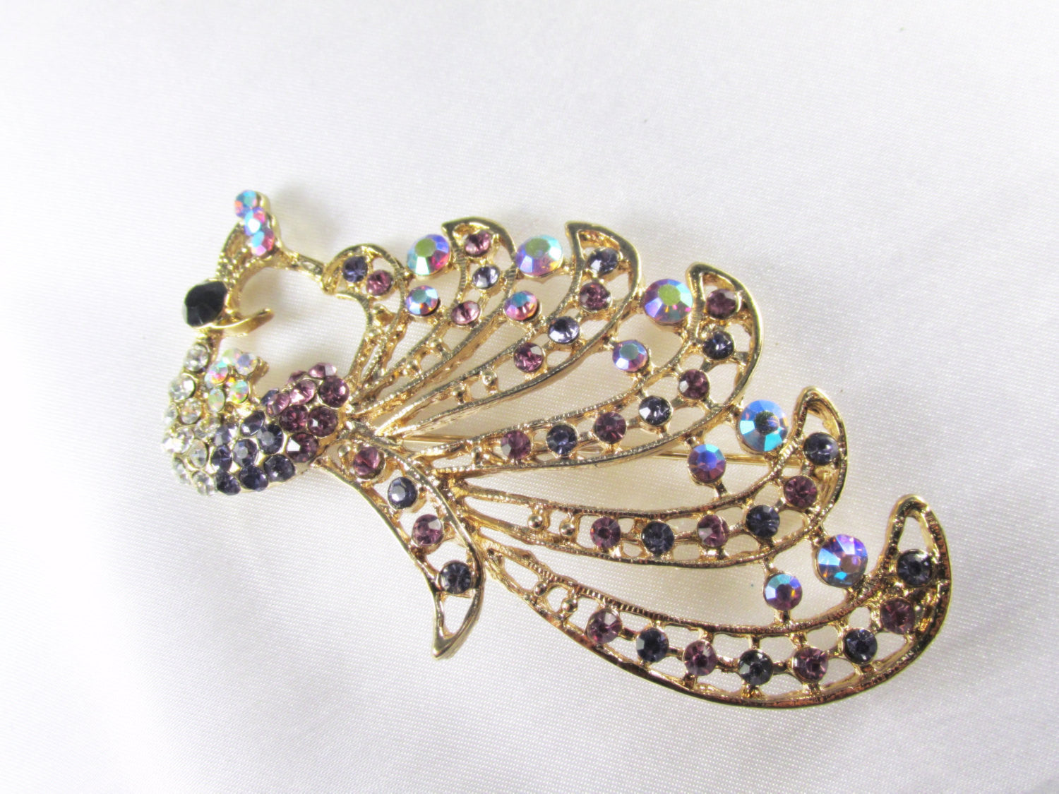 Peacock Cascading Brooch in Purple, Turquoise and Gold - Odyssey Creations
