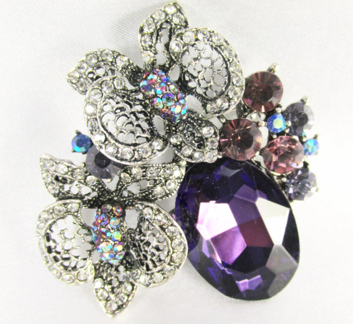 Purple and Antique Silver Cluster Brooch Pin with Quality Crystals - Odyssey Cache - 1