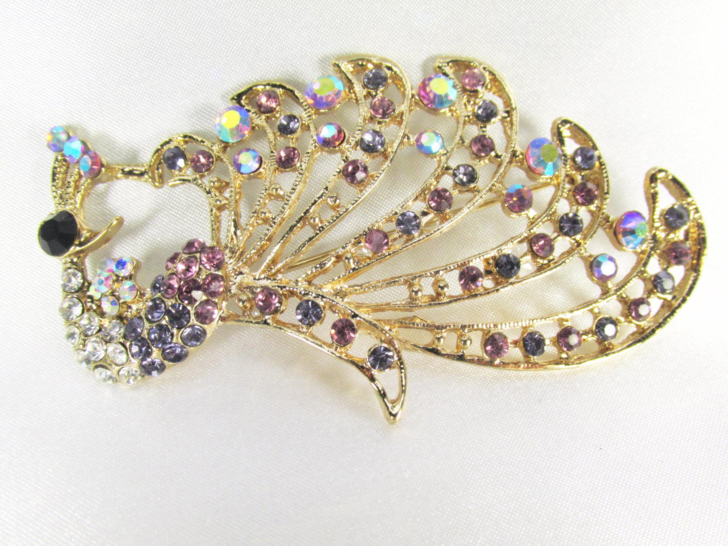 Peacock Cascading Brooch in Purple, Turquoise and Gold - Odyssey Cache - 2