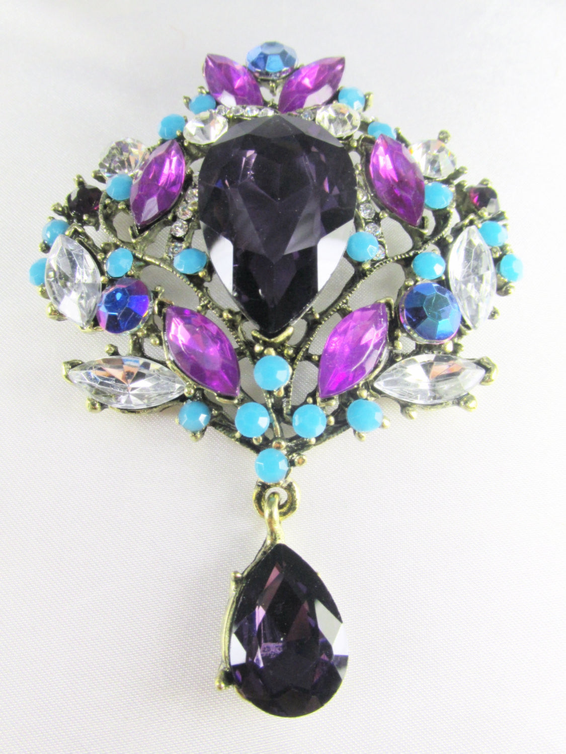 Purple Blue Turquoise XL Crystal Teardrop Brooch - Odyssey Creations