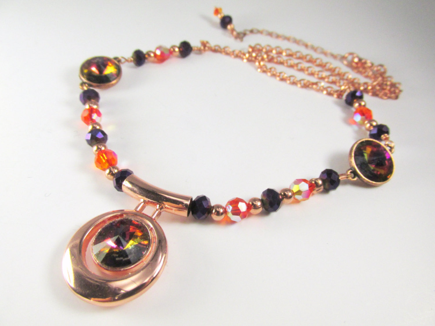 Swarovski Orange and Purple Necklace with Volcano Rivoli Crystals set in Copper - Odyssey Creations